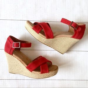 Toms Shoes - Toms Sienna Red Wedge Heel Sandal Espadrille